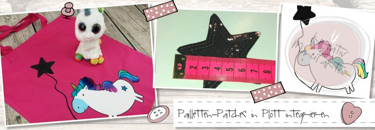 Pailletten Patches in Plottmotiv einbauen